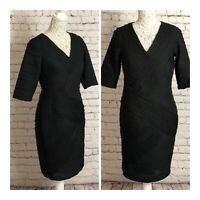 Black Shift Dress Signature by Robbie Bee 3/4 sleeve size US10 UK14 Smart Work