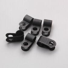 "100 X Nylon Black Wire Cable Hose P Type Clamp Clips Clip C R 6.4mm 1/4"""