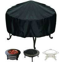 Round BBQ Grill Fire Pit Cover Waterproof Dustproof Outdoor Patio Garden Fabric