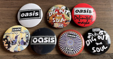 More details for oasis set of 7 button badges - english rock band - definitely maybe 25mm pins