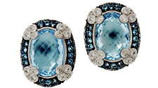 JUDITH RIPKA STERLING SILVER 15.00 cttw BLUE TOPAZ MONACO EARRINGS OMEGA BACKS