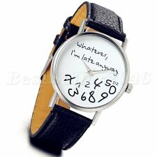 "Women's ""whatever I'm late anyway"" Dial Leather Quartz Analog Wrist Watch Black"