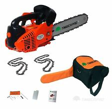 "26cc 10"" TIMBERPRO Petrol Top Handle Chainsaw. Topping Chain Saw with 2 Chains"