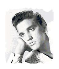 Black & White Elvis Presley Cross-Stitch Pattern Chart
