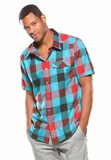 Mens Oakley Daddy O Woven Button Up Down S/S Shirt Bright Aqua Blue Plaid Size S