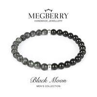 MEGBERRY® Mens Bracelet Natural Black Moonstone Onyx beads 925 Sterling Silver