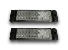 PAIR 12/24V LED WHITE FRONT SIDE MARKER POSITION LIGHTS REFLECTORS VOLVO SCANIA