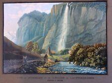 1820 aquatint print of Staubbach, Switzerland, Swiss Alps, Lautterbrunnen church