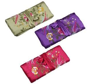 Oriental Silk Travel Jewellery Roll Storage Wrap Organiser Storage Case Pouch UK