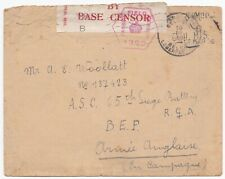 # 1916 ARMY PO BASE CENSOR LABEL WW1 DELAYED NOT FRANKED BOXED CACHET BELGIUM