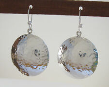 "925 sterling silver hollow domed disc earrings hamnmered finish 1 3/4"" long"