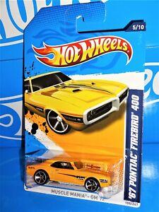 Hot Wheels 2012 Muscle Maina GM #105 '67 Pontiac Firebird 400 Yellow w/ MC5s