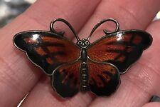 Hroar Prydz Norway Sterling Silver Guilloche Enamel Butterfly Pin Brooch .925