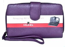 ALL IN ONE FAT WALLET Mundi Women Checkbook Cards Ladies Clutch Purple I737X