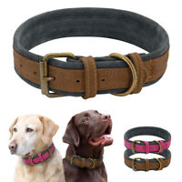 Brown Red Genuine Real Leather Puppy Dog Collar for Large Dogs Walking Hiking