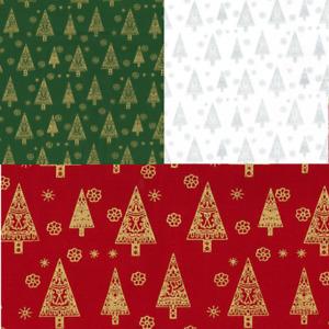 100% Cotton Fabric John Louden Metallic Print Christmas Trees Snowflakes Xmas