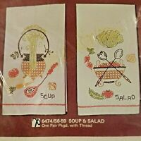 Progress Soup and Salad Pair Stamped Kitchen Towels Embroidery Cross Stitch Kit