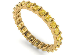 0.90Ct Round Yellow Diamond Shared U-Prong Eternity Band Ring Solid 14k Gold I1