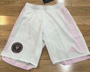 NEW Adidas Inter Miami CF MLS Soccer White Pink Shorts Men's Size XS EH8632 RARE