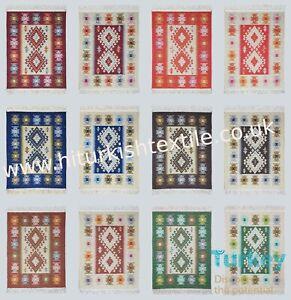 Multi Size & Colour Turkish Rug Runner Kilim 90% Cotton Washable Reversible