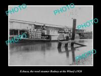 OLD LARGE HISTORIC PHOTO OF ECHUCA VIC, WOOL STEAMER RODNEY AT THE WHARF 1920