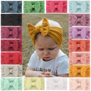 Baby Bowknot Nylon Headband Infant Toddler Girl Headwraps Hair Accessories UK