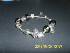 Chain With Glass and Metal Beads Lady Bracelet eiffel tower+heart charms