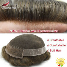 French Lace Front Mens Toupee Hairpiece Poly Skin PU Hair System Replacement Wig