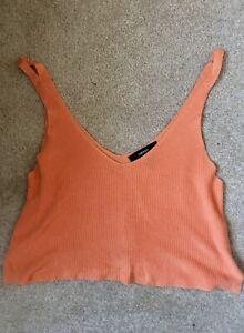 Womens Forever 21 Orange V Neck Knit Crop Tank Top Size Med