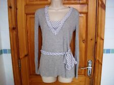 Ladies grey jumper with polka dot trim and front tie size 10 by SAVIDA v