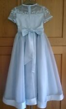 New girls party dress Pale Blue Organza and Duchess satin with embroiderAge6-10
