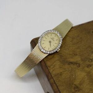 1987 Omega Ladies Dress Watch, Diamond Bezel, 14K Gold Case & Band, Ref. 325D