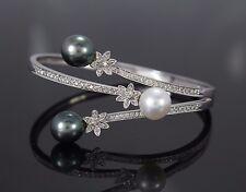 $6,575 18K White Gold Diamond Tahitian South Sea Pearl Flower Bangle Bracelet