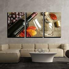 """Wall26 - Red Wine - Canvas Art Wall Home Decor - 16""""x24""""x3 Panels"""