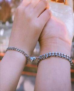 2pcs Silver Magnet Couple Bracelet Wristbands Distance Magnet Attract Gift Set