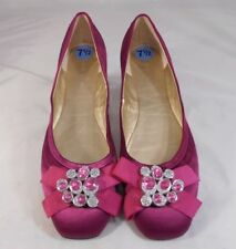 Nine West Womens Ballet Flats Size 7.5 M Fabric Upper with Jeweled Toes Purple