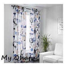 Ikea Silverbuske Curtains 57x 98, 1 Pair (2 panels)  Blue White Beige NEW