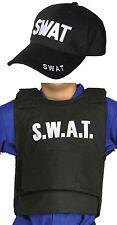 KIDS CHILDRENS  SWAT TEAM VEST & HAT SET POLICE FBI MILITARY STYLE FANCY DRESS