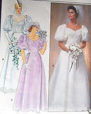 Vintage WEDDING BRIDAL dress GOWN sew pattern sz 8 V-neck or high neck w/ train