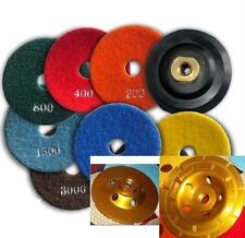 Diamond Polishing Pads 4 inch Wet/Dry 9 PC. Backer Coarse Cup Granite Concrete