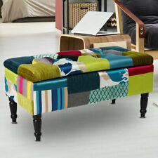 Patchwork living room seat bench multicolored storage space textile upholstered