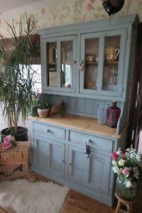 Antique, Solid Pine farmhouse Kitchen dresser, display cabinet in Duck Egg Blue
