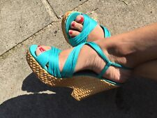 newlook blue  strappy summer well worn wedges size 6