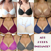 Bust ur Bust Look Bigger Front Close Add 2 Cup Sizes Push Up Lace Racerback Bra