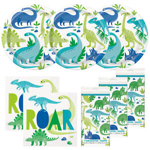 Blue Green Dinosaur Happy Birthday Standard Party Pack and Table Cover-Serves 24