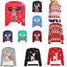 KIDS BOYS GIRLS XMAS JUMPER RUDOLPH REINDEER SNOWFLAKES BAMBI CHRISTMAS JUMPERS