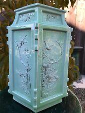 Old Chinese Qianlong Porcelain Square Celadon Glaze Vase Qing Asian China