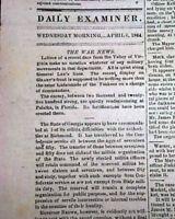 Rare CAPITAL OF THE CONFEDERACY Richmond VA Virginia Civil War 1864 Newspaper