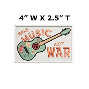 Make Music Not War Patch Iron on Peace Love Dove Hippie Boho Retro Psychedelic