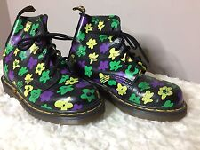 Doc Martens RARE Women Size US 6.5 UK 4 Purple, Green, Yellow Floral 6 Eye Boot